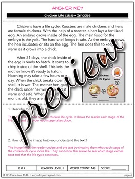 Chicken Life Cycle Reading Comprehension Passage & Questions Close Reading