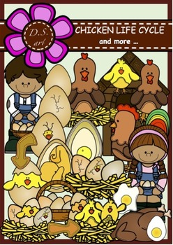 Chicken Life Cycle and more... Digital Clipart (color and black&white)