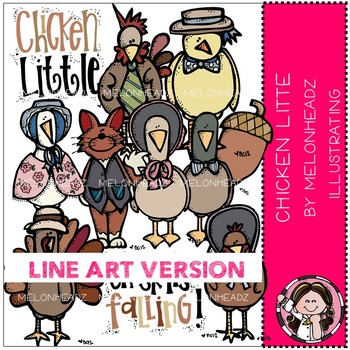 Chicken Little clip art - LINE ART- by Melonheadz