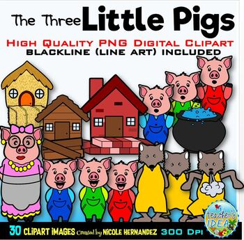 The Three Little Pigs Clip Art for Personal and Commercial Use