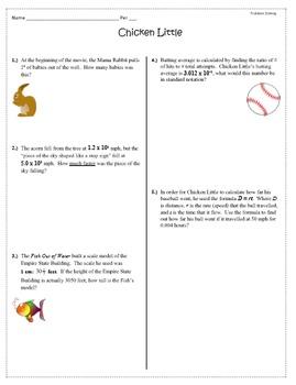 Chicken Little Movie Math Questions Problem Solving