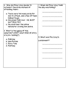 Chicken Little Reading Comprehension Quiz