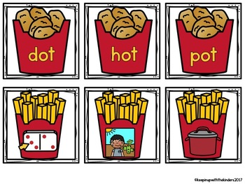Chicken Nugget and French Fries Word Family Matching Game
