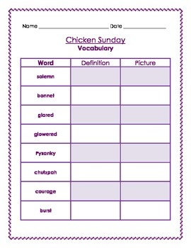 Chicken Sunday Literacy Unit