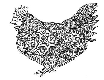Chicken Zentangle Coloring Page
