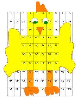 Chicken hidden picture on 100 chart