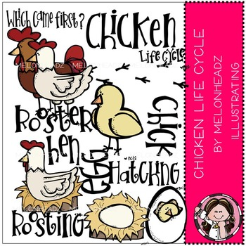 Melonheadz: Chicken life cycle clip art - COMBO PACK