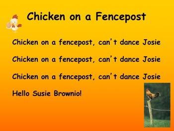 "Chicken on a Fencepost teaching 'tika-tika' and ""low sol"""