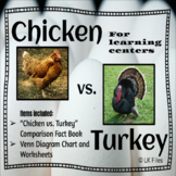 Chicken vs. Turkey - Fact Book & Venn Diagram Activity for Learning Centers