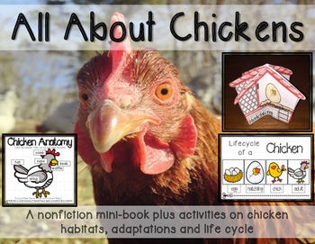 Chickens Minibook- life cycles, adaptations and habitats with 3D craftivity