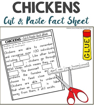 Chickens Nonfiction Facts Cut and Paste Worksheet