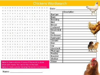 Chickens Wordsearch Sheet Starter Activity Keywords Animals Nature Birds