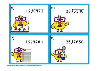 Chicks 2 Digit Long Division with Remainders Task Cards