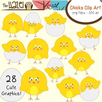 Spring/Easter Chicks & Eggs Set: Clip Art Graphics for Teachers