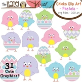 Spring/Easter Chicks & Eggs Set in Pastel Colors: Clip Art