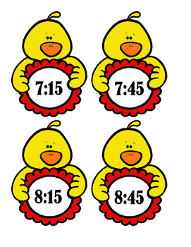 Chicks:  Time to the Hour, Half Hour, 15 and 45 After