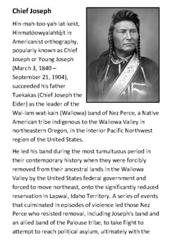 Chief Joseph Handout with activities