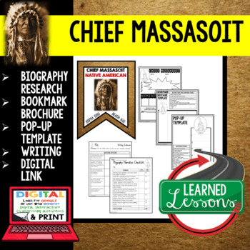 Chief Massasoit Biography Research, Bookmark Brochure, Pop-Up, Writing, Google