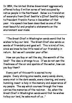 Chief Seattle Word Search and Speech