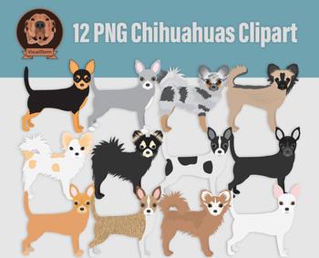Chihuahua Clip Art, 12 Hand Drawn Dog Illustrations - Various Colors & Markings