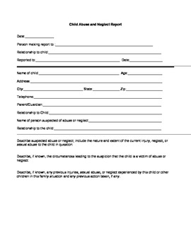 Child Abuse Reporting Form