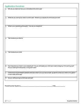 Child Care Application Form