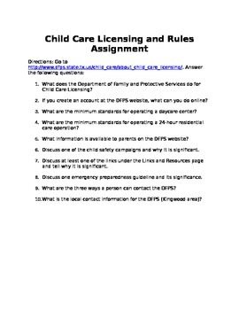 Child Care Licensing and Rules Assignment