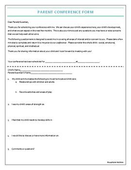Child Care Parent Conference Questionnaire