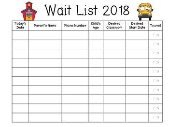 Wait List Template from ecdn.teacherspayteachers.com