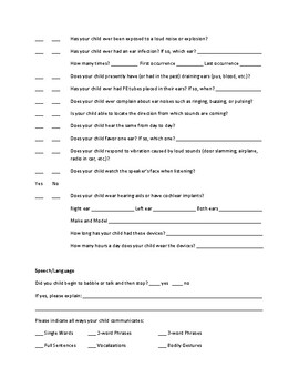 Child Case History Form