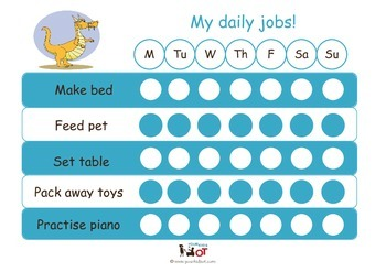 Child Daily Chore Chart: Dragon Blue