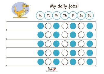 Child Daily Chore Chart: Dragon Plain