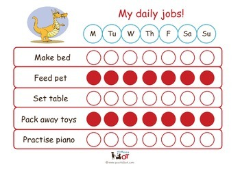 Child Daily Chore Chart: Dragon Red