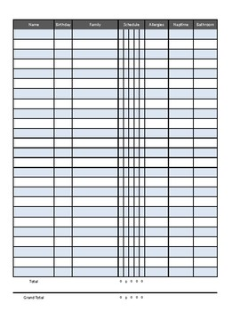 Child Data Sheet with Counts