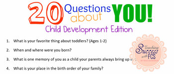 Child Development - Getting to Know YOU Activity Bundle