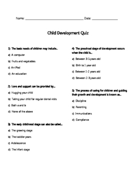 Child Development Quiz