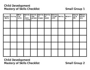 Child Development Skills Checklist