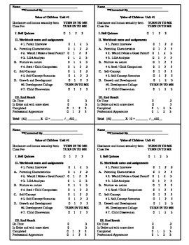 Child Development Unit 1 course workbook Rubric score sheet