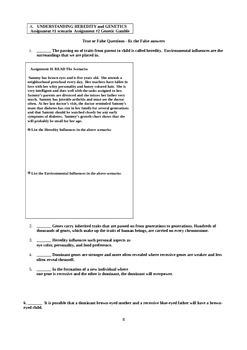 Child Development unit 2 course workbook & key genetics, defects, & reproduction