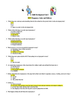 Child Development unit 3 day 6 lesson plan Test day and Test with Key