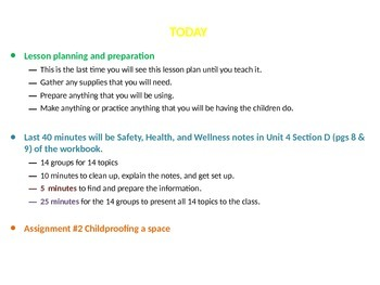 Child Development unit 4 day 3 power point Safety, Health, and Wellness