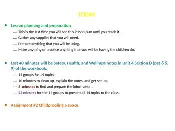 Child Development unit 4 day 1 power point child Safety, Health, and Wellness