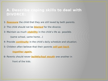Child Development unit 6 day 4 power point Death, divorce, and more