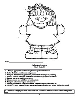 Child Development unit 6 course workbook & key Challenging situations