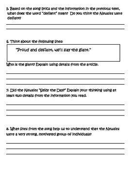 """Child Labor CLOSE Read Using Song Lyrics: """"Seize the Day,"""" from Disney's Newsies"""