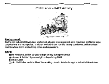 Child Labor - Short Story Activity- RAFT
