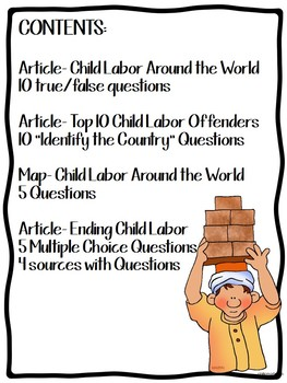 Child Labor Today- Articles, Map, Primary Sources, Questions, Modern Issues