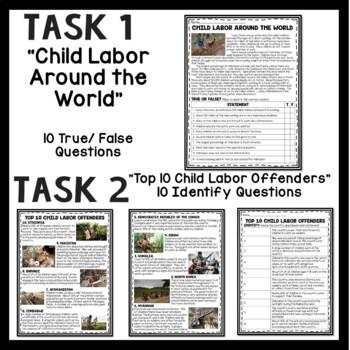 Child Labor Today Reading Comprehension Activities; Industrial Revolution; Slave
