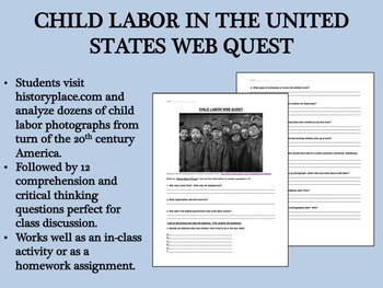Child Labor in Early 20th Century America Web Quest - US History/APUSH