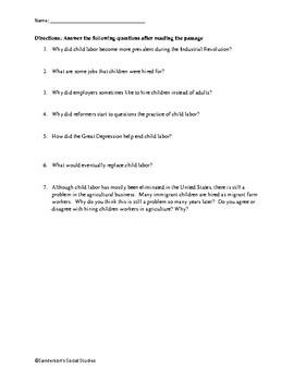 Child Labor in the Industrial Revolution Reading Comprehension Worksheet